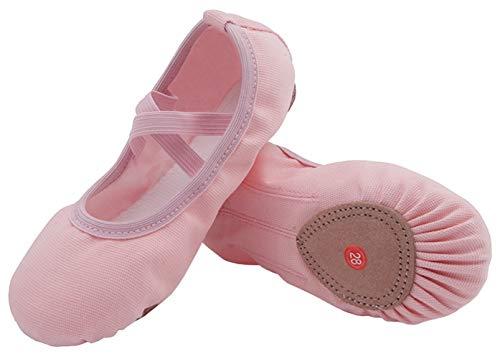 Nzcm Leinwand Ballettschuhe Mädchen Flache Ballettschläppchen Kinder Leicht Weich Schläppchen Ballerinas Tanz Gymnastik Schuhe mit Geteilter Ledersohle Rosa Gr.29