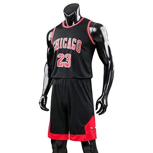 Herren- und Unisex-Basketball-T-Shirt- Michael Jordan # 23 Chicago Bulls Retro Basketball Shorts Trikots Basketball Uniform Top & Short,Schwarz,XXL
