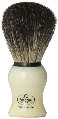 Omega 13109 Creamy Curved Handle Pure Badger Shaving Brush