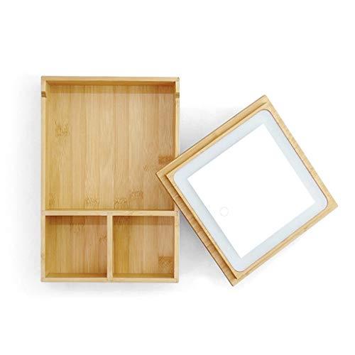 Espejos de Mesa a Prueba de Explosión -GDingQ Maquillaje de madera espejo, lente de almacenamiento rectángulo Vestir joyería Tabla espejo LED Glow belleza espejo niña Compartimiento Espejos de Revesti