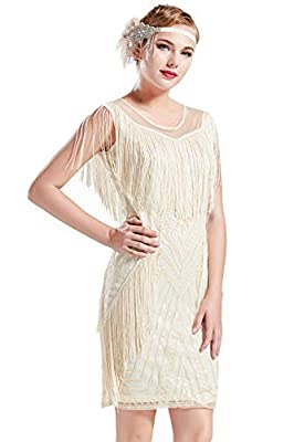 BABEYOND 1920s Gatsby Dress Long Fringe Flapper Dress Roaring 20s Sequins Beaded Dress Vintage Art Deco Dress