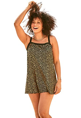 Swimsuits For All Women's Plus Size Banded Swim Dress Swimsuit - 18, Gold Black Dot