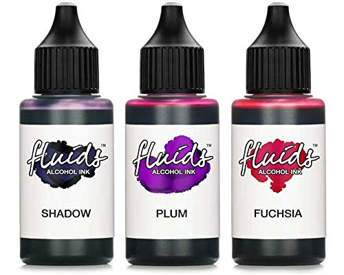 3x 30ml Octopus Fluids Alcohol Ink Set SHADOW, PLUM, FUCHSIA Alkohol Ink, Alkoholtinte für Fluid Art, Resin Art und Epoxidharz Farbe