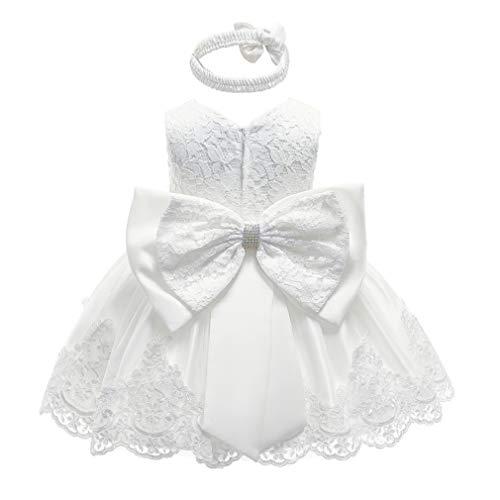 Gaga city Mädchen Bowknot Spitze Prinzessin Kleid Blumenmädchenkleid Taufkleid Festlich Kleid Hochzeit Geburtstag Partykleid Festzug Babybekleidung Outfits Weiß/12M