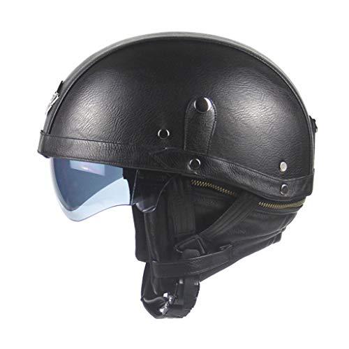 DJCALA Motorcycle Half Helmet Retro PU Leather Open Face Jet Helmet, Cruiser Chopper Scooter Moped Four Seasons Breathable Motorbike Crash Helmet for Adults Men & Women DOT Certified (54-61cm)