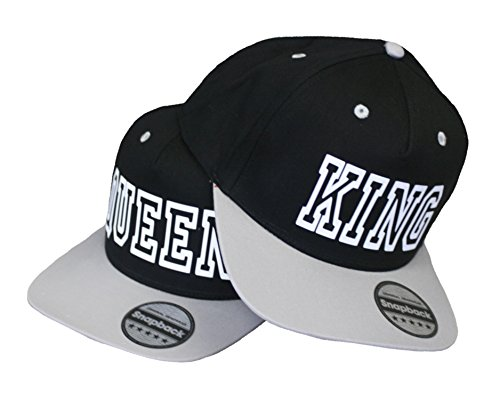 HELLMOTORS King & Queen Cap Snapback stylische Pärchen Basecap Partner Look Kappe Grau schw