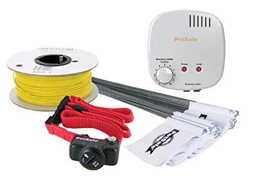 Clôture anti-fugue extérieur standard avec fil pour chien, Système de base pour tout type de chien, 150m de fil à enterrer ou à poser sur mur et poteaux