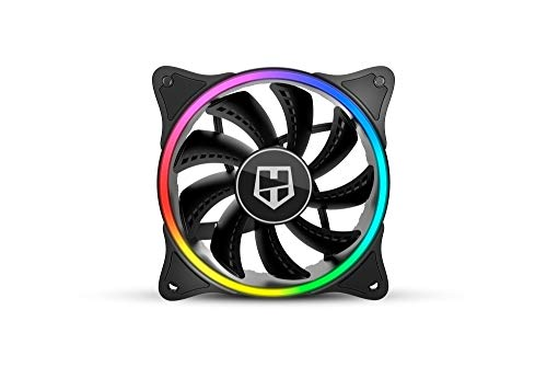 Nox Hummer X-FAN -NXHUMMERXFAN- Ventilador PC 120 mm, doble anillo LED ARGB Rainbow, ultra silencioso con pads goma antivibración, gran flujo de aire, 3 pines, color negro
