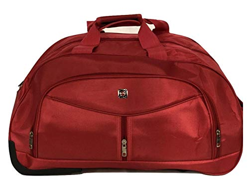 GXK Wheeled Travel Luggage Trolley Holdall Suitcase Case Bag Wheels (Color : RED, Size : Medium)
