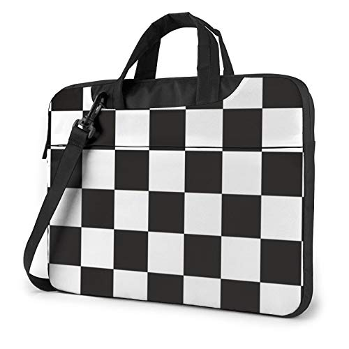 Laptop Bag Black White Race Checkered 2 Carrying Case Computer Sleeve Business Briefcase 15.6 Inch