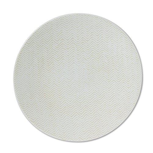 TABLE PASSION - ASSIETTE DESSERT CHEVRON BLANC 21CM ( LOT DE 6)