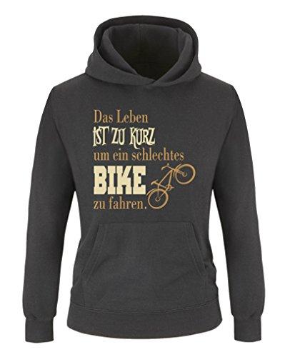 Comedy Shirts - Das Leben ist zu kurz um EIN schlechtes Bike zu Fahren - Mädchen Hoodie - Schwarz/Hellbraun-Beige Gr. 110/116