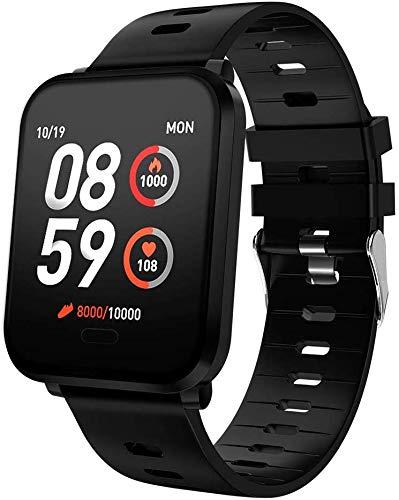 Bluetooth Smart Uhren Sport Smart-Armband Herzfrequenz-Blutdruck-Monitor IP68 wasserdichte intelligente Uhren for Männer & Frauen 1,3 Zoll Bildschirm Uhr für Männer Frauen Kinder ( Color : Black )