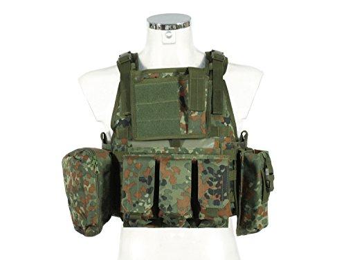 PHX Plate Carrier/Plattenträger/Weste 'Commando', MOLLE kompatibel, mit 4 Taschen - Flecktarn