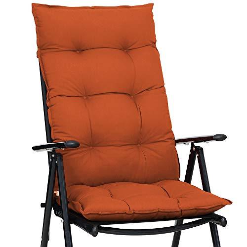 Detex Stuhlauflage 129 x 53 cm Viskoeffekt Indoor Outdoor Stuhlkissen Polsterauflage Hochlehner Sitzauflage Terracotta