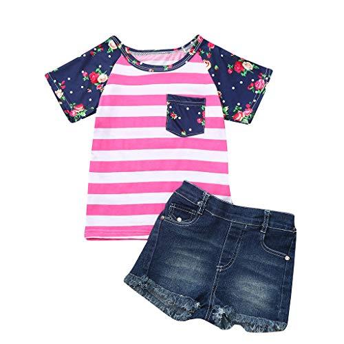 Zeside Mädchen-Kleidungs-Set (6 M-4T) für Kinder, kurzärmelig, Blumenmuster gestreiftes Oberteil + Shredded Denim-Shorts,...