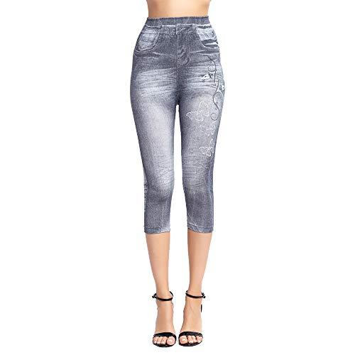 OEAK Damen Capri Leggings 3/4 Lang High Waist Jeggings Jeansoptik Hose Destroyed-Style Push Up Slim Fit Hose Stretch Freizeithose