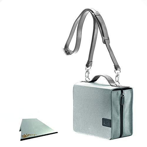 SchönfelderSkin basic Tasche (Nylon/Leder) - silber-grau - im Set mit Tragegurt und rutschfester Buchstütze