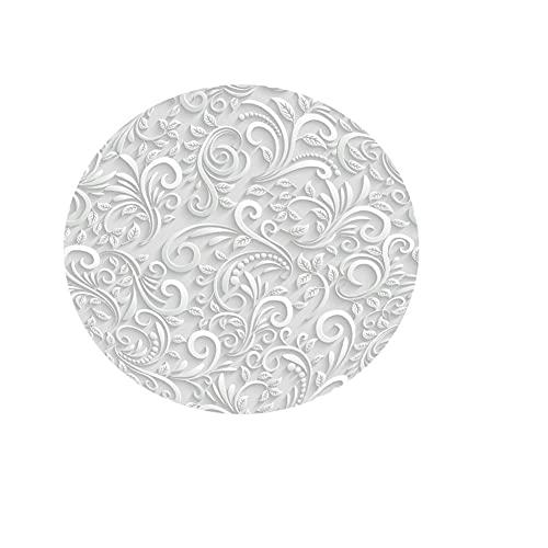 Fansu Rotonda Tovaglia Impermeabile Antimacchia, 3D Foglie Stampa Tovaglie Antipolvere Interno ed Esterno Copritavolo Decorativa Matrimonio Alberghi Cucina (Foglie Grigie 1,150cm)