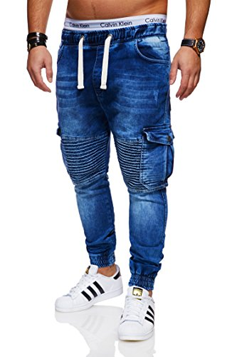 behype. Herren Destroyed Jogg-Jeans Biker Hose 80-2271 Dunkelblau 32