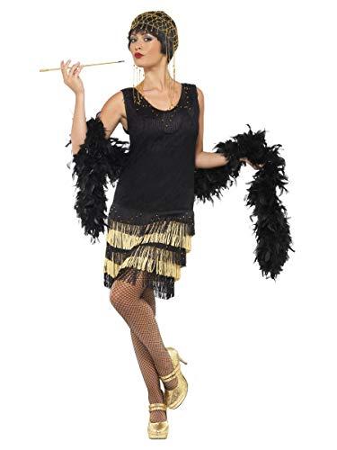 Fancy Me Femmes Noir/Doré Perlé Années 1920 Franges Charleston Costume déguisement Taille 8-18 - Noir, Noir, UK 16-18