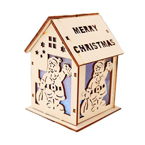 BESTOYARD Casita de Navidad Decorativo Ornamento Ilumina de Navidad de Madera Adorno...
