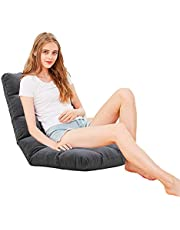 FLOGUOR Portable Floor Chair 14-Position Removable Couch Lounger Transformable Folding Fabric Lazy Sofa Soft Padded Gaming Chair for Reading Gaming TV Watching Factory Price (Grey) 8812GR…