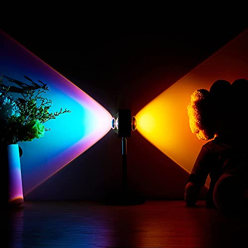Amuou Sunset Lamp and Rainbow Lights, 2 Colors in 1 Projector Sunset Light with 7 Levels of...