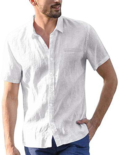 COOFANDY Men's Cotton Linen Shirt Long Sleeve Hippie Casual Beach T Shirts Button Up Shirts White