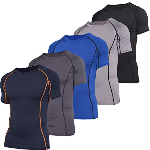 5 Pack: 5 Pack: Mens Short Sleeve Compression Shirt Base Layer Thermal Slimming Undershirt Activewear Training Athletic Crew T-Shirt Quick Dry Fit Workout Fitness Gym Running Top,Set 6,XL