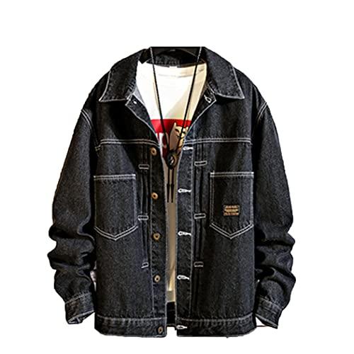 Jerinumkoy Japón Estilo para Hombre Jeans Chaqueta, Chaquetas de Mezclilla Negra, Abrigo Fresco de la Carretilla del Pop de la Cadera, Chaqueta Bomber de tamaño Grande para Hombre Black L