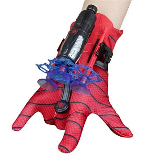 BSOA Spider Man Spielzeug Cosplay Spiderman Handschuhwerfer Set mit 1x Handschutz, 3 x Saugnapfpfeilen, 1 x Handschuh