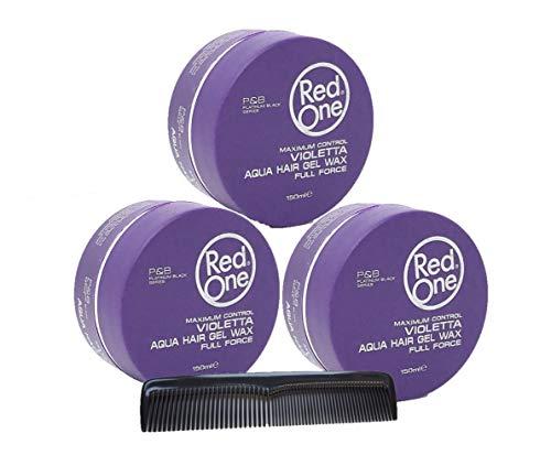 RedOne Violetta Aqua Hair Gel Wax150ml 3 Stück + GRATIS Taschenkamm Stylingkamm Pommadenkamm