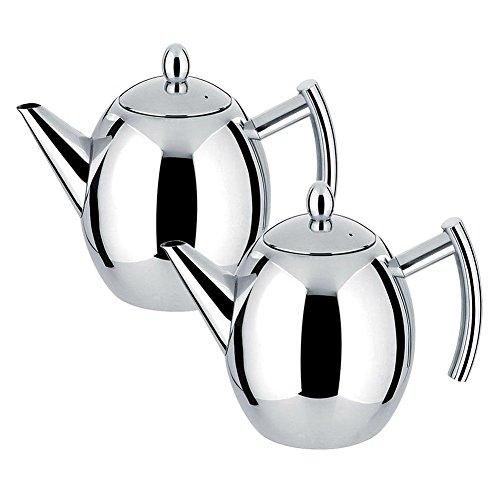 Teekanne Silber Kaffeekanne aus Edelstahl mit Filter-Ei groß Kapazität 1L silber/schwarz,lacher Edelstahl Kaffeekanne