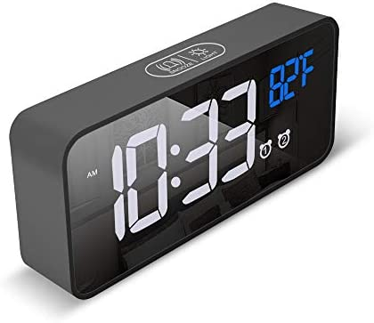 Small Compact Wireless LED Digital Clock for Bedroom Table Nightstand with 6 Mirror Display product image