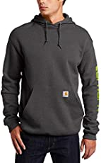 Carhartt Men's Midweight Sleeve Logo Hooded Sweatshirt (Regular and Big & Tall Sizes), Carbon Heather, Large