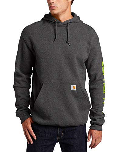 Carhartt Men's Midweight Sleeve Logo Hooded Sweatshirt (Regular and Big & Tall Sizes), Carbon Heather, 2X-Large