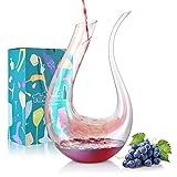 BEYONDA Carafe à vin , Carafe à décanter en Verre Coloré, Décanteur Aérateur de vin 1,5L en forme de U, Cadeau pour Amateur de Vin