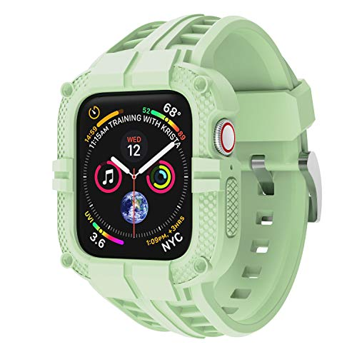 T-ENGINE Band Compatible with Apple Watch Band 44mm Series 4 Series 6/5/SE, TPU Rugged Sports Band with Full Protection Case for Men/Women, Green