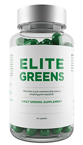 Elite Super Greens Capsules Including Superfoods Chlorella, Spirulina and Wheatgrass - Also Includes Broccoli, Spinach & Ginseng - Vegetarian Capsules