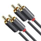 UGREEN RCA ケーブル 2M 2RCA-2RCA オス-オス オーディオ ステレオ ケーブル ゲーム機/車載オーディオ/アンプ/スピーカー/CDプレーヤー対応