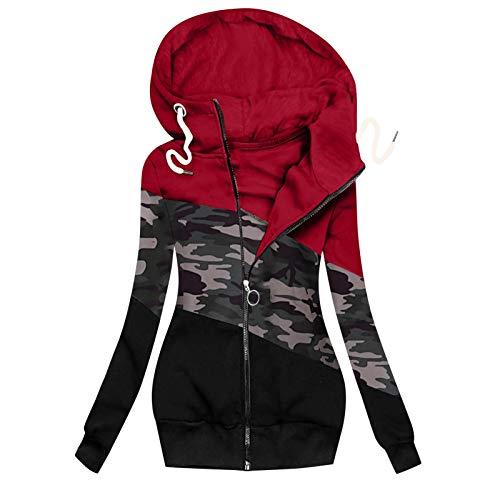 Lazzboy Winterjacke Frauen Winter Camouflage Spleißen Prints Jacke Reißverschluss Sweatshirt Langarm Mantel Sweatjacke Damen Lang Herbst Hoodie Mit Kapuze Rollkragen (Rot,3XL)