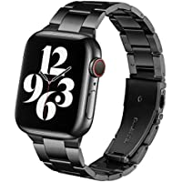 BesBand Steel Band Compatible with Apple Watch Bands 44mm 42mm (Black)