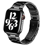 Steel Band Compatible with Apple Watch Bands 44mm 42mm, Business & Leisure Upgraded Stainless Steel Metal Solid Replacement Strap for iWatch Series 6/5/4/3/2/1 & SE Men and Women - Black