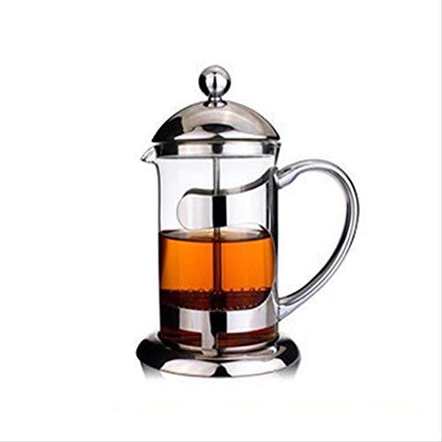 Roestvrij stalen glazen drukpot hoge temperatuur machine 304 koffiepot handdruk filter pot thee thee pot bel Frans 600ml