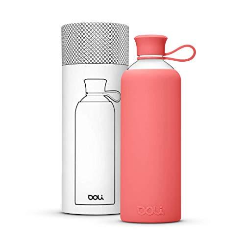 Doli Bottles Trinkflasche Glas für heiße und kalte Getränke 550ml, 100% BPA frei, spülmaschinenfest und auslaufsicher - Deine ideale Glasflasche mit Schutzhülle für unterwegs