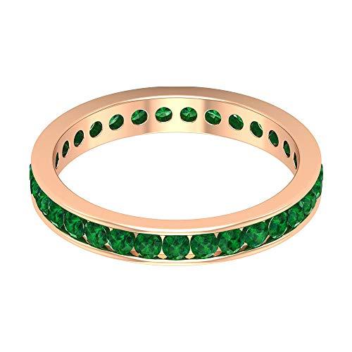 Anillo de eternidad de oro esmeralda difuso de 2 mm, certificado de 1,24 quilates, anillo de boda vintage, anillo clásico para mujer, anillo de compromiso único con gemas, 14K Oro rosa, Size:EU 70