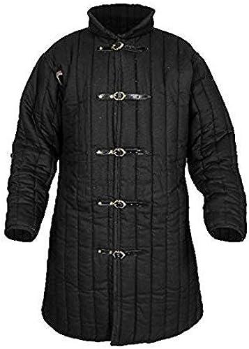 Epopée médiévale VTC Nouveau Médiéval Renaissance Noir Couleur Gambeson pour costume de reproductions de théatre d'armures