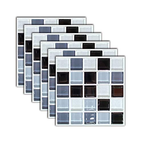 INMOZATA 6pcs Tile Stickers Self Adhesive Splashback Waterproof 3D Mosaic Tile Stickers Peel and Stick Wall Tiles DIY Sticker for Bathroom Kitchen (20x20cm)