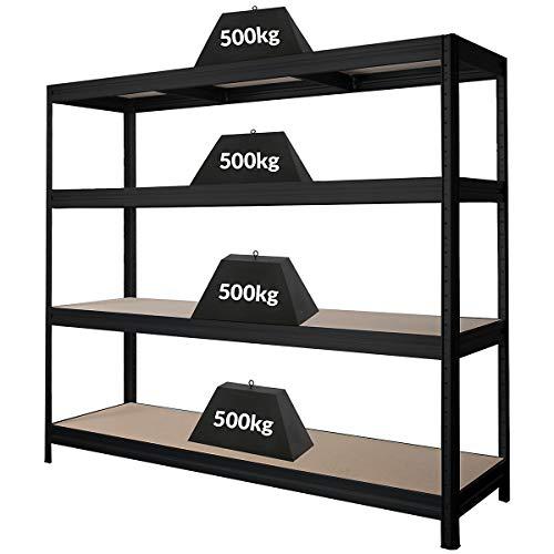 Stabiles Schwerlastregal | Tragkraft bis zu 500 Kg pro Fachboden | 1770 x 2000 x 600 mm | Kellerregal Stahlregal Garagenregal Lagerregal | Schwarz